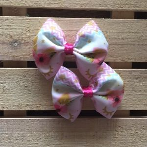 Unicorn floral pigtails hairbow